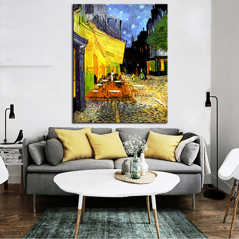 The Cafe Terrace on the Place du Forum by Van Gogh Poster Prints on Canvas Wall Art Decorative Abstract Painting for Living Room image