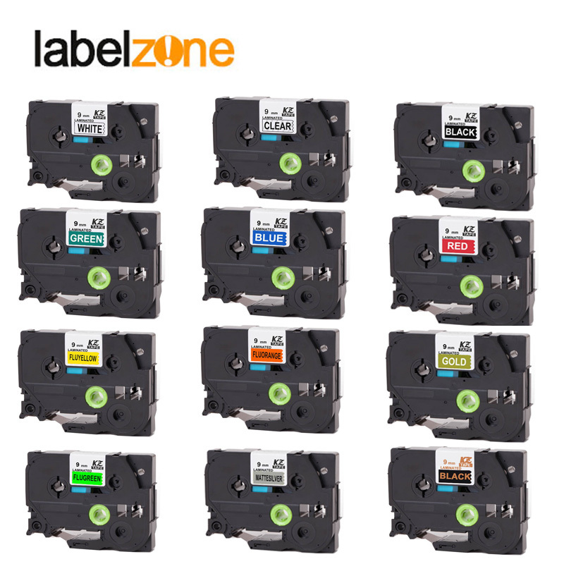 Multicolor 9mm Tze221 Compatible for Brother p-touch label printers Tze tape tze-221 Tz221 Tze 221 Tz-221 label ribbon cassette brother tz 221 page 1