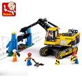 Конструктор Sluban, городской город, тяжелая Инженерная техника, Traxcavator, 614 шт., развивающие кирпичи, игрушка для мальчиков