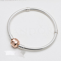 Authentic 925 Sterling Silver Bracelet Rose MOMENTS With Rose Barrel Clasp Bracelet Bangle Fit Women Bead