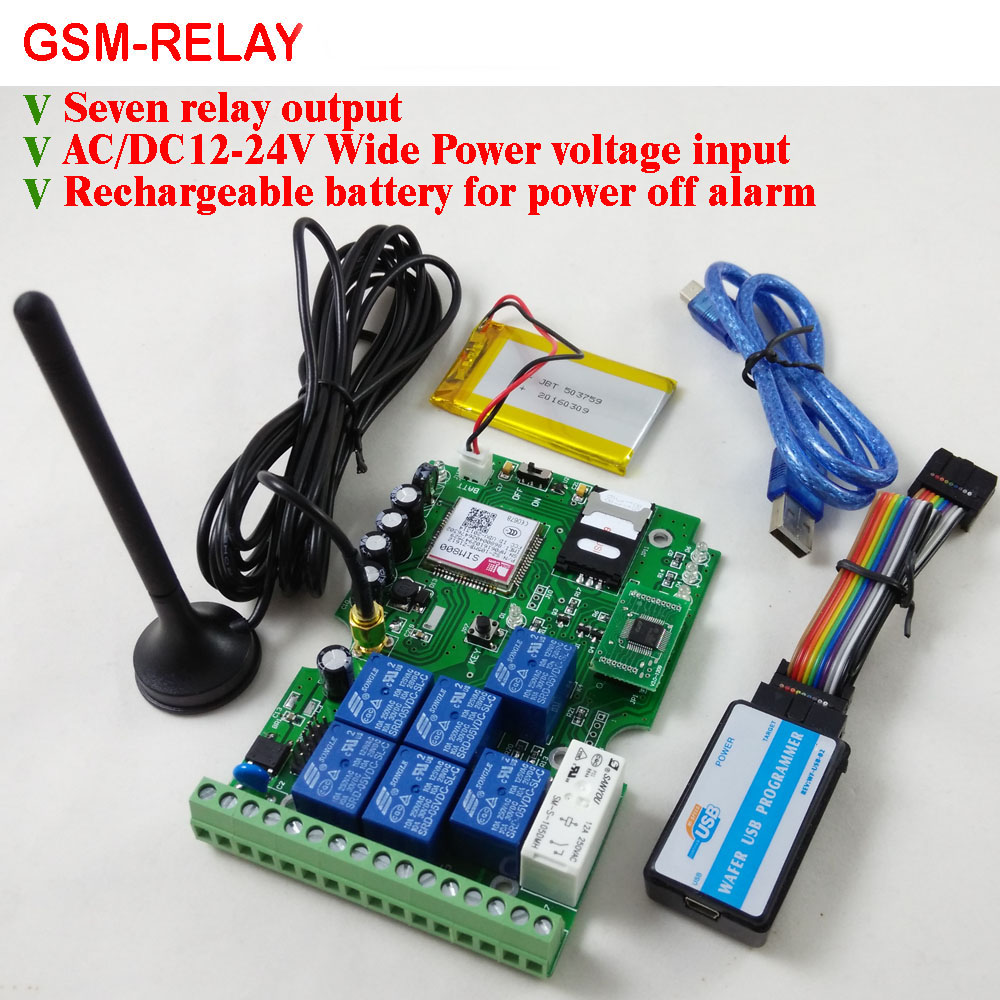 Free shipping GSM Relay Remote Control board with Seven Relay Real Time Switch output GSM QUAD