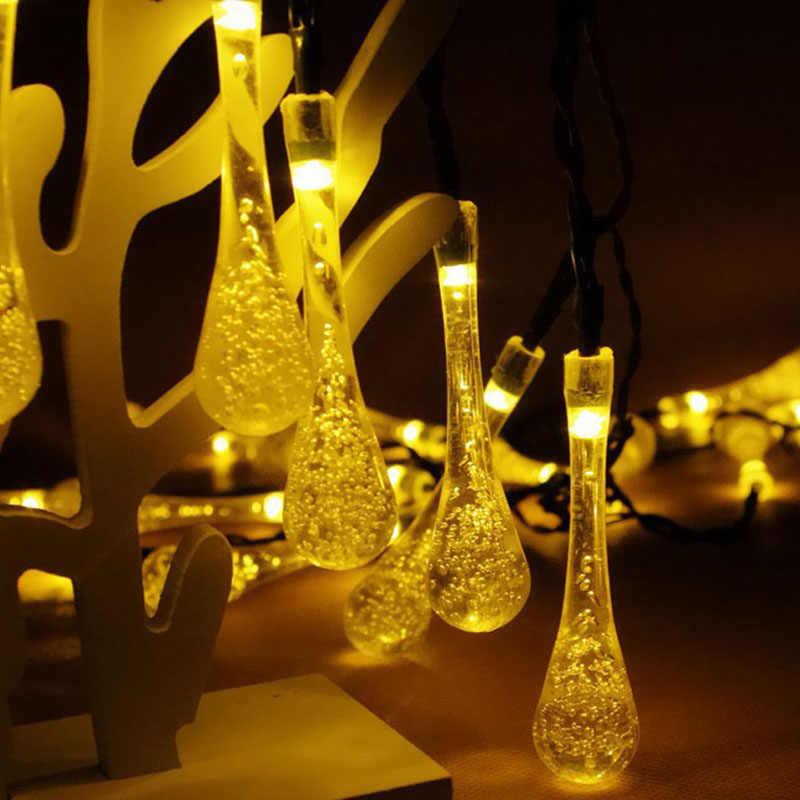 30 светодиодный солнечный Сказочный свет открытый капли воды светодиодный свет шнура рождественское декоративное праздничное освещение