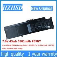 7.6 V 43wh 5381 mAh P63NY 새로운 원본 P63NY 노트북 배터리 N3KPR Dell Latitude 13 7370 N3KPR