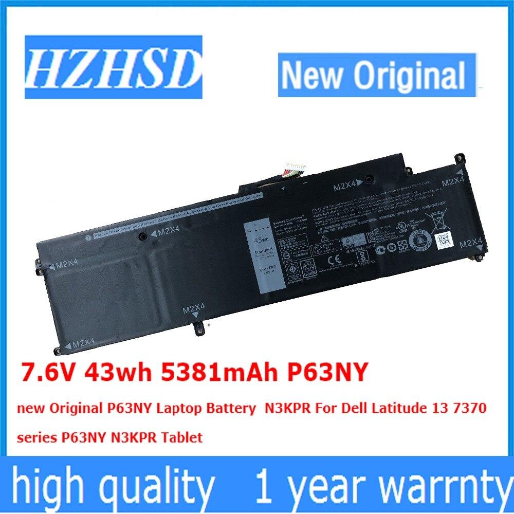 7.6V 43wh 5381mAh P63NY new Original P63NY Laptop Battery  N3KPR For Dell Latitude 13 7370 N3KPR|Laptop Batteries| |  - title=