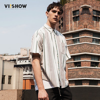 VIISHOW New Arrived Mens Casual Shirts Brand Short Sleeve Striped Twill Men Dress Shirts Green Male