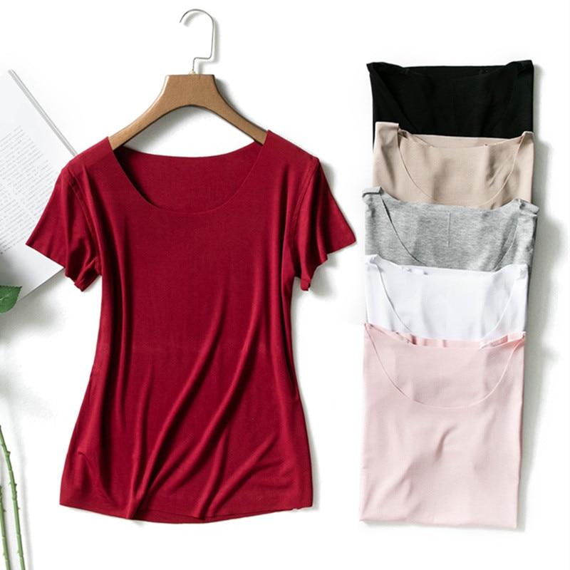 Sanishroly Spring Women Casual Summer T-Shirts Tee No Trace Modal T Shirt Female Short Sleeve T Shirts Tops Plus Size 3XL S421