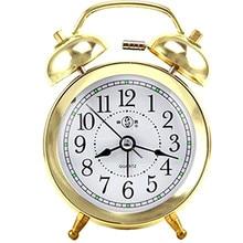 Envío Gratis, reloj despertador clásico con doble campana, números blancos árabes, placa de reloj, vaina de Metal, luz nocturna, cronómetro, reloj 1385