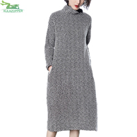 Plus Size Autumn New Knitti Dress Women Fashion Turtleneck Empire Wasit Long Sleeve Long Thick knitti Dress Female Dress QW791