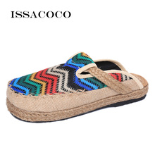 ISSACOCO Flax Home Slippers Outside Floor Shoes Cross Belt Silent Sweat For Summer Womens Sandals Zapatillas Pantuflas