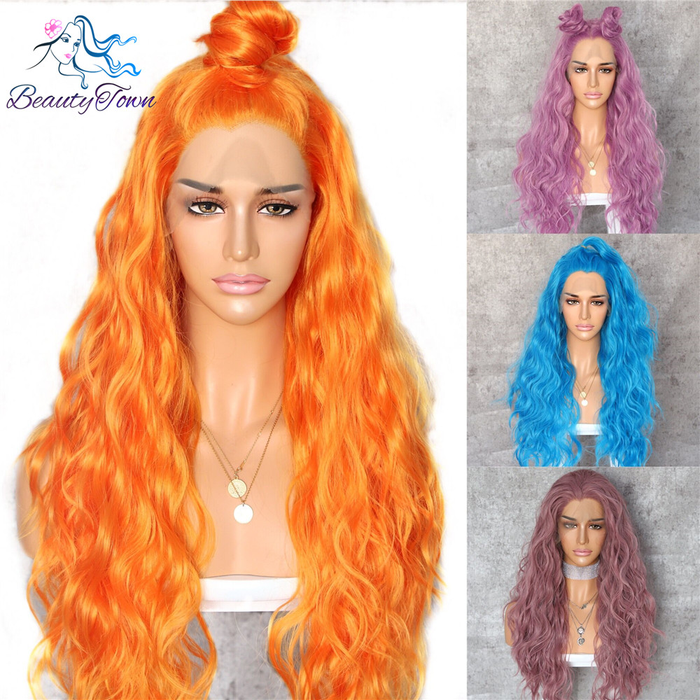 BeautyTown Orange Yellow Natural Curly Wave Heat Resistant Hair Women Makeup Wedding Party Gift Synthetic Lace
