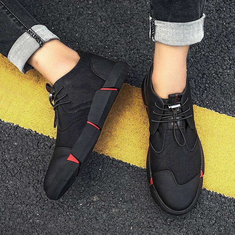 black De Daily Pu Youth Ronde 1112 Hh Hommes Chaussures 9 Chaud En Plat Avec Plus Tête Usure Velvet Black Noir Cuir Casual Maille Mode Respirant xqFw4nCB