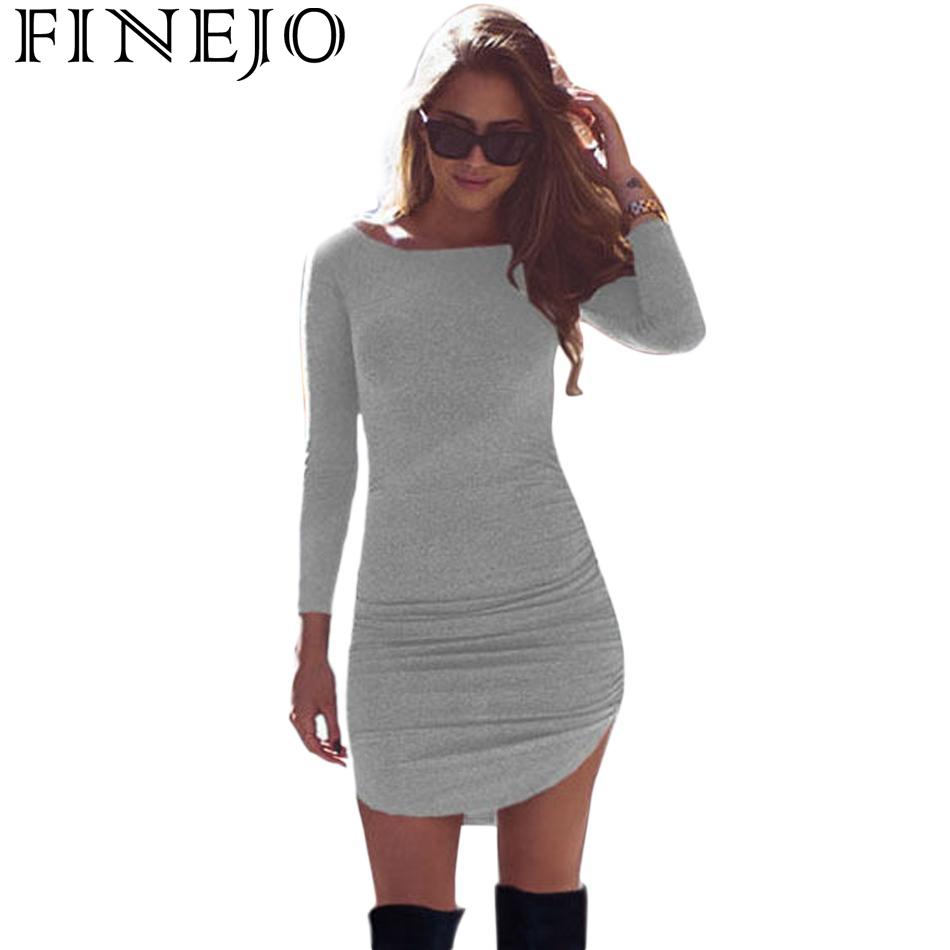 FINEJO Casual Women Dress Fashion Ladies Autumn Spring