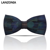 Lanzonia Feather Blue Mens Bow Tie Male Handmade Novelty Wedding Bowtie Fashion Designer Unique Neckwear Party Butterfly Tie