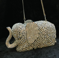 2017 Women Elephant Shape Evening Clutch Bags Rhinestones Beaded Clutch Bag Wedding Party Clutches Purse Chain