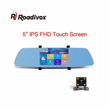 "Newest 5.0""inch IPS Touch screen Car Camera Super night vision Review Mirror Car Dvr Detector Video Recorder 1080P Dual Car Dvrs"