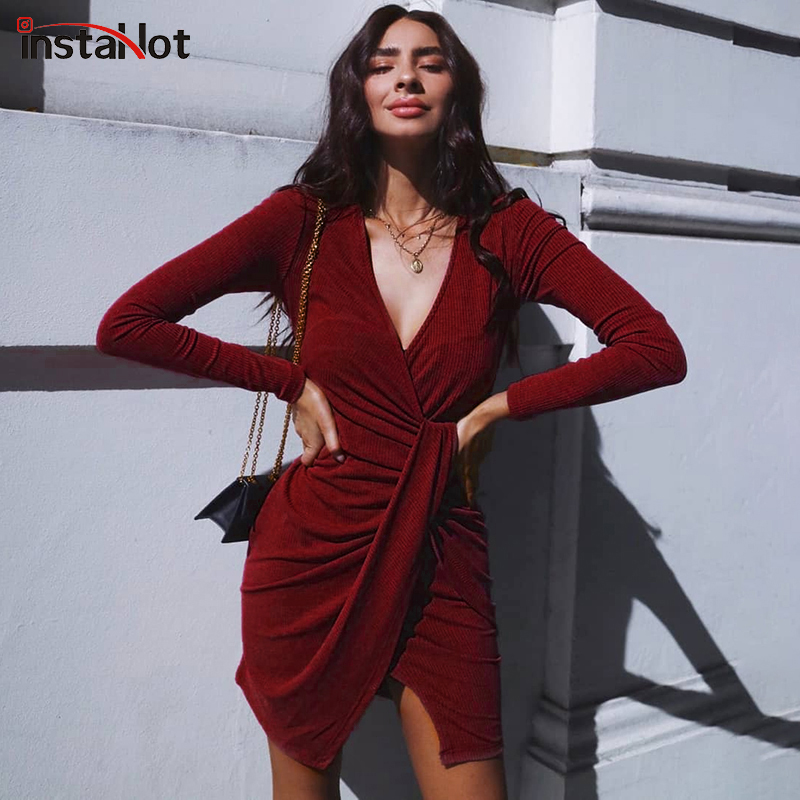 InstaHot Burgundy Party Elegant Sexy Solid Belted Asymmetric Autumn Modern Lady Women Long Sleeve Vintage Ruched Ribbed Dresses