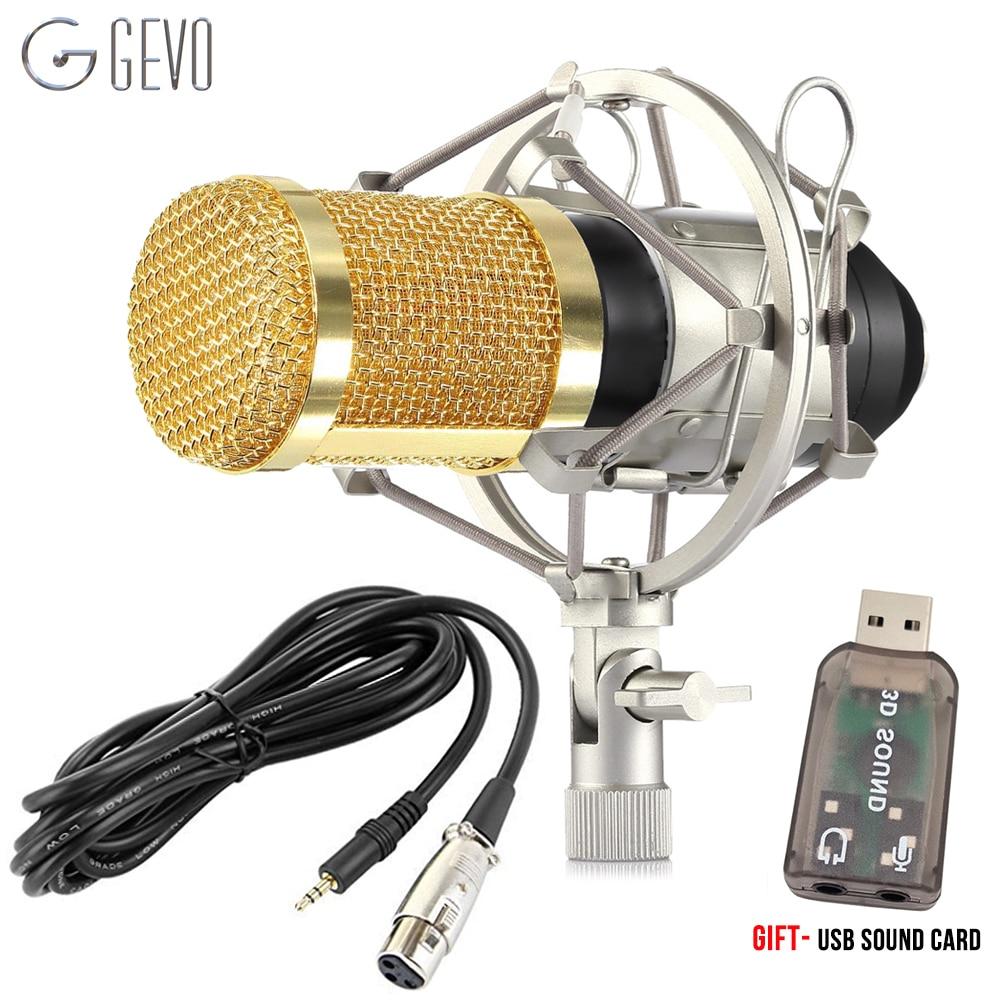 GEVO BM 800 microfono pc de condensador microfono profesional karaoke Con Metal Montura Antichoque Para Micrófono De Estudio De Grabación De Vídeo Ordenador BM800