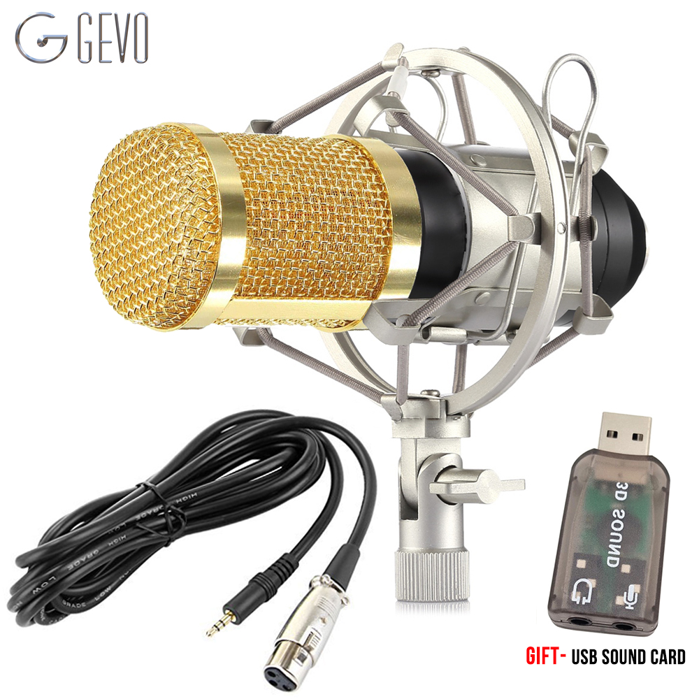 GEVO BM 800 Condenser Microphone For Computer Professional Wired Studio Karaoke Mic And Shock Mount For Phantom Power PC BM800 professional condenser microphone bm 800 bm 800 cardioid pro audio studio vocal recording mic 48v phantom power usb sound card