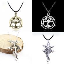 цена на Anime Fullmetal Alchemist Edward Elric Snake Cross Pendant Necklace Cosplay Hot Gift