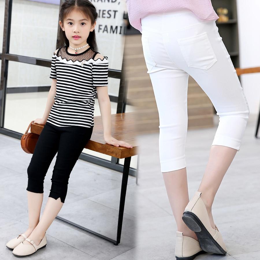 Girls Knee Length Leggings Kids Pencil Lace Cotton Summer Pants Clothes Trousers