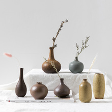 Modern Traditional Chinese Ceramic vase Mini small flower Coarse pottery crafts Tabletop Vases home decoration accessories