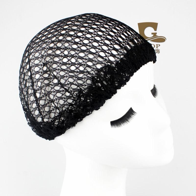 2016 New fashion hair Black Big Bonnet Sleep Cap Night Sleeping Hat mesh Weaving Net Stretchable Elastic Fishnet Wig Cap G-231
