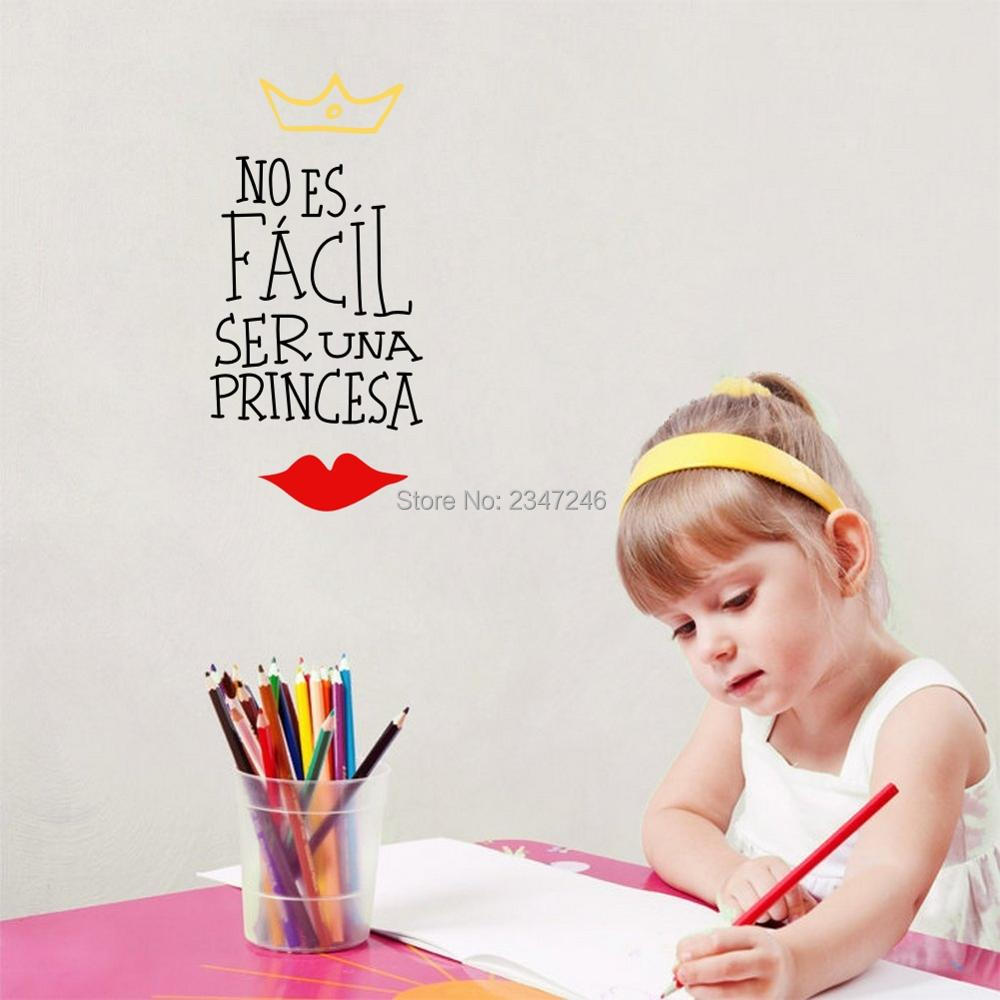 Spanish Quotes Wall Decors Noes Facil Seruna Princesa Crown Red Lip Vinyl Art Mural Stickers for Girls Room ...