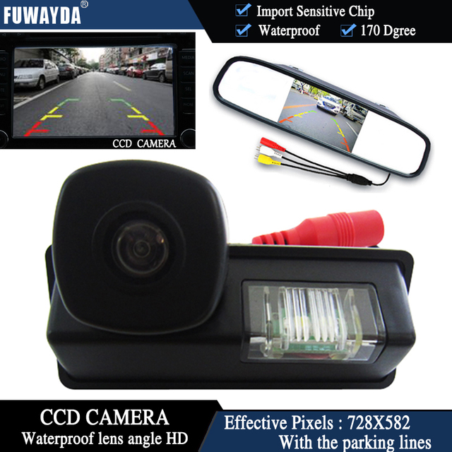 FUWAYDA Color CCD Chip Car Rear View Camera for Nissan Maxima Cefiro Teana Paladin Tiida Sylphy+4.3 Inch rearview Mirror Monitor