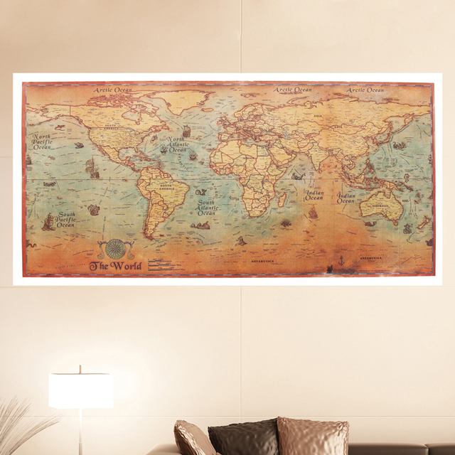 World map poster vintage ancient sailing map wall sticker large world map poster vintage ancient sailing map wall sticker large retro paper bar cafe pub living gumiabroncs Choice Image