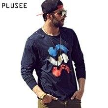 Plusee Men Hoodies Black Spring Stripe Geek Graffiti Blue Autumn Teen Comics Sweatshirt Fashion Brand 4XL 5XL 6XL Men Hoodies