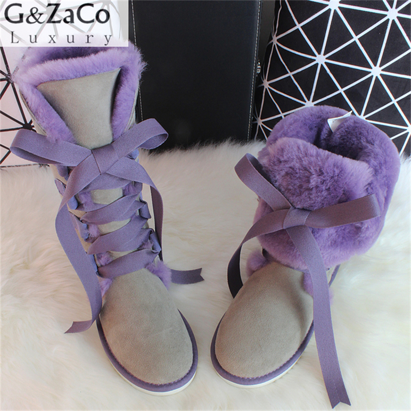 G&Zaco Luxury Winter Knee High Sheepskin Snow Boots Natural Wool Sheep Fur Boots Sweet Straps Bow Women Long Boots Wool flats pair of shining rhinestone embellished daisy pattern earrings for women
