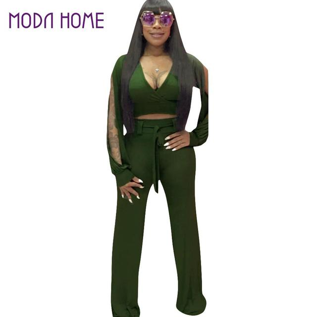 d829c4a7b85 Sexy Women Bodycon Jumpsuit Long Flare Pants Cut Out Solid Deep V-neck  Overalls Long Sleeve Casual Club Playsuit Rompers Black