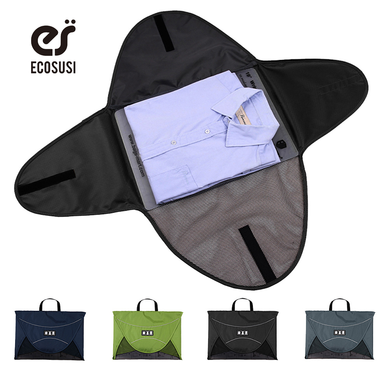 ECOSUSI Men T Shirt Fold Packing Storage Bags For 1-5pcs Clothes Packing Cubes To Traveling Protector Box Organize Suitcase clothes vacuum packing clothes storage bags
