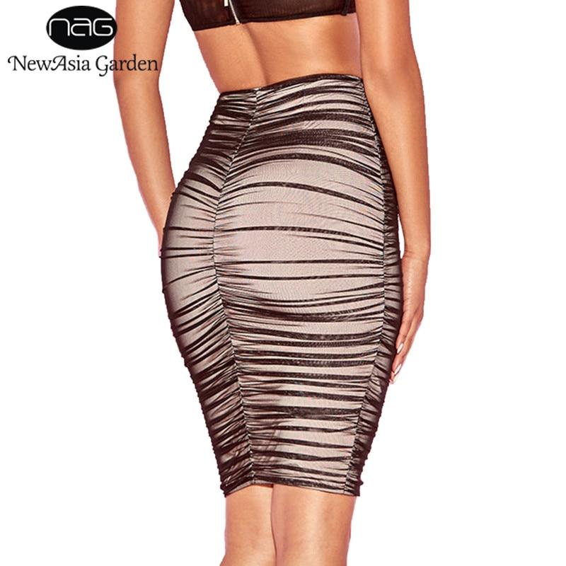 NewAsia Garden Black Ruched Mesh Skirt Semi-Sheer Linning