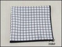 Men S Pocket Square Silk And Cotton Mixture Comfortable Fabrics Balck And White Grid Desgin Handkerchief