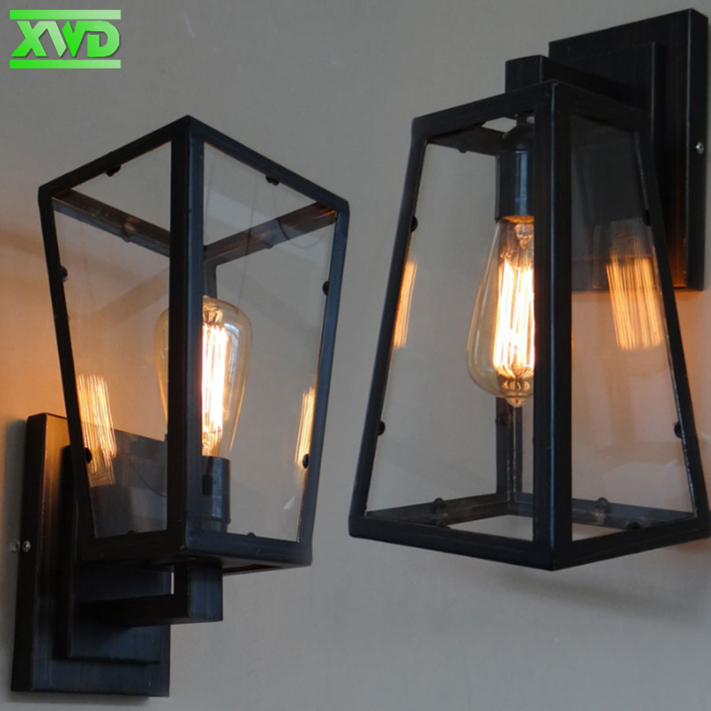 American Glass Box Iron Wall Lamp E27 Lamp Holder Coffee House/Dining Hall/Foyer/Shop Vintage Indoor Lighting 110-240V shop 110 455