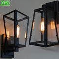American Glass Box Iron Wall Lamp E27 Lamp Holder Coffee House/Dining Hall/Foyer/Shop Vintage Indoor Lighting 110-240V