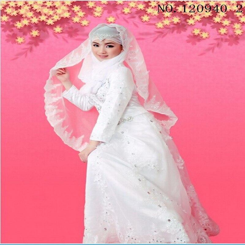 Personalizado vestido de boda musulmán color blanco moda árabe ...