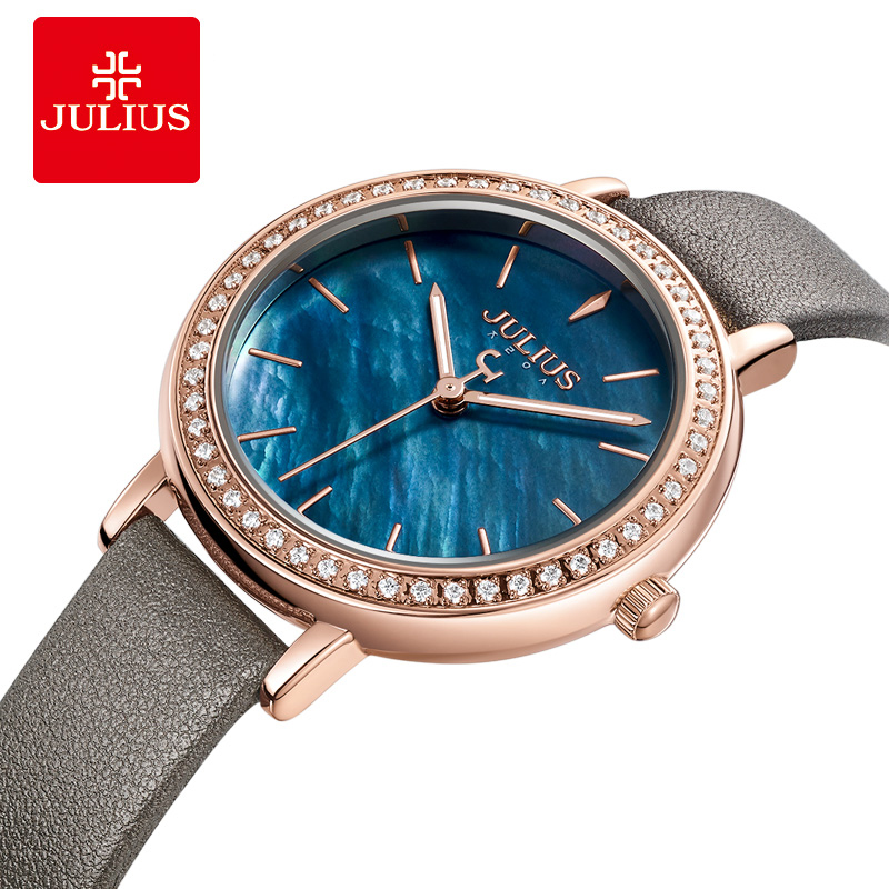 Julius Watch Women's Watch Leather Strap Luxury Blue Mother of Pearl Dial with Diamond Case Rose Gold Waterproof Watch JA 1036