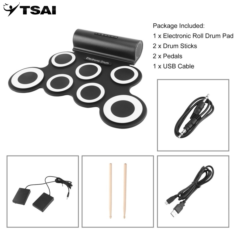 TSAI Electronic Roll Drum Pad Built-In Speakers Digital Drum 9 Silicon Pad With Foot Pedals USB Charging Musical InstrumentTSAI Electronic Roll Drum Pad Built-In Speakers Digital Drum 9 Silicon Pad With Foot Pedals USB Charging Musical Instrument