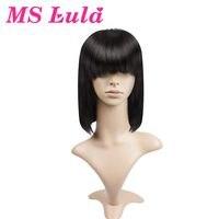 Ms lula Синтетические волосы на кружеве человеческих волос черный боб парики с аккуратными плоским удары Medium Размеры Бесплатная Часть 10 14 бра