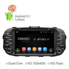 HD 1024*600 Android 5.1 Reproductor de DVD Del Coche Para Kia Soul 2014 2015 Quad Core Reproductor Multimedia GPS Soporte de Radio Ipod Touch Screen