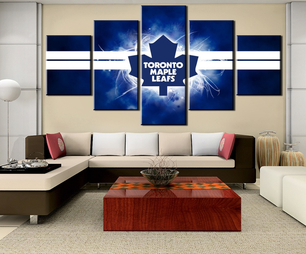 5 Panel Canvas Art Ice Hockey Leaves Sport Logo Cuadros Decoracion Paintings on Canvas Wall Art for Home Decorations Wall Decor in Painting Calligraphy from Home Garden