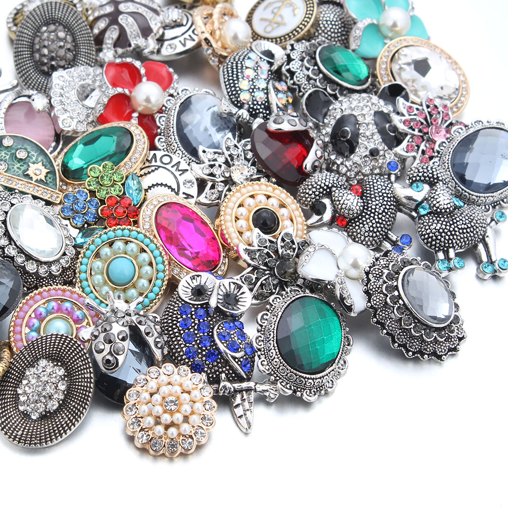 50pcs/lot New 18MM Snap Jewelry Mixed 50 Designs Metal Snap Buttons fit 18mm Snap Bracel ...