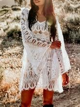 2019 Sexy v-neck tassel cover-ups dress women Lace hollow out bat long sleeve autumn sundress See through holiday beach dress