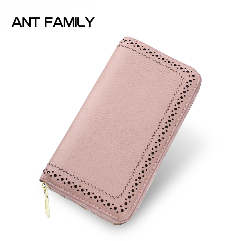 Genuine Leather Wallet Women Luxury Brand Coin Purse Ladies Long Zipper Wallets Cell Phone Wallet Female Card Holder Wallets genuine leather wallet women luxury brand plaid coin purse female long clutch ladies leather wallets portfel damski portomonee