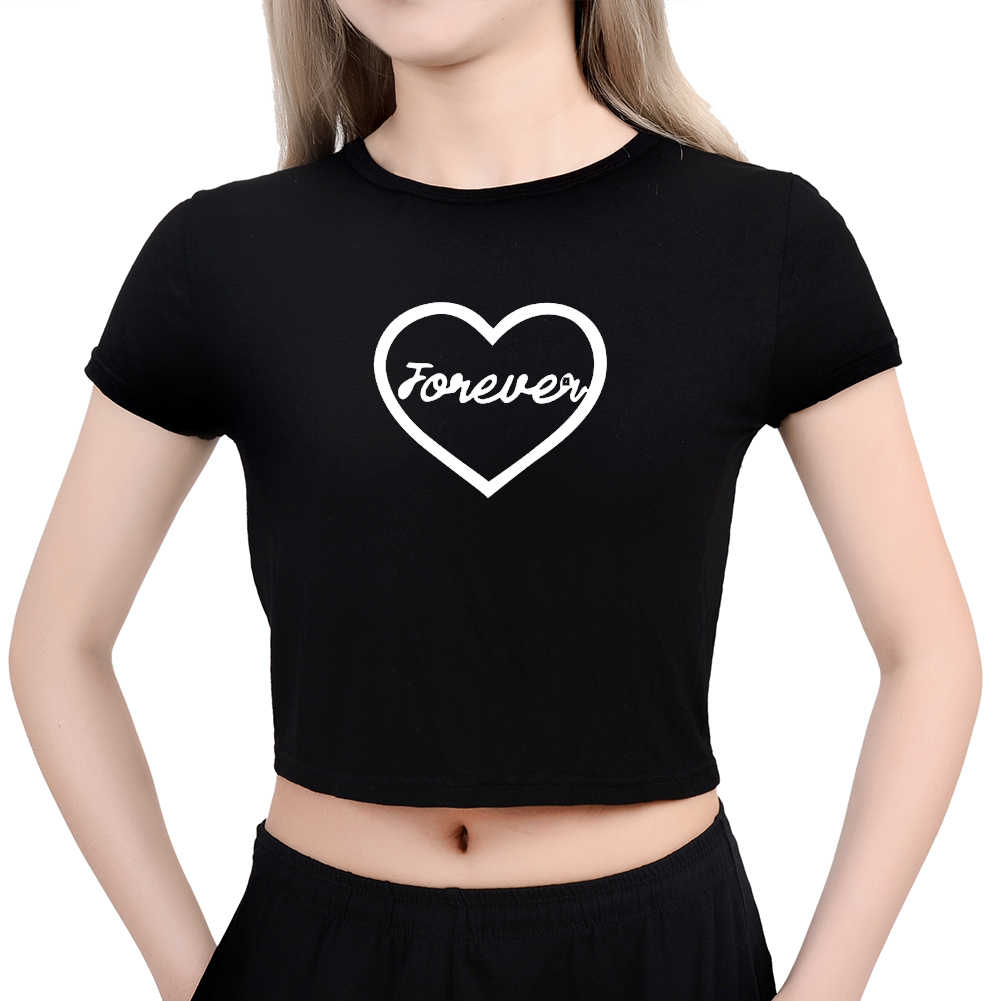 f62caa6e7 ... Harajuku Street Round Neck Best Friends Forever Heart Print Cropped  Tumblr T Shirts Fashion Sleeve Kawaii ...
