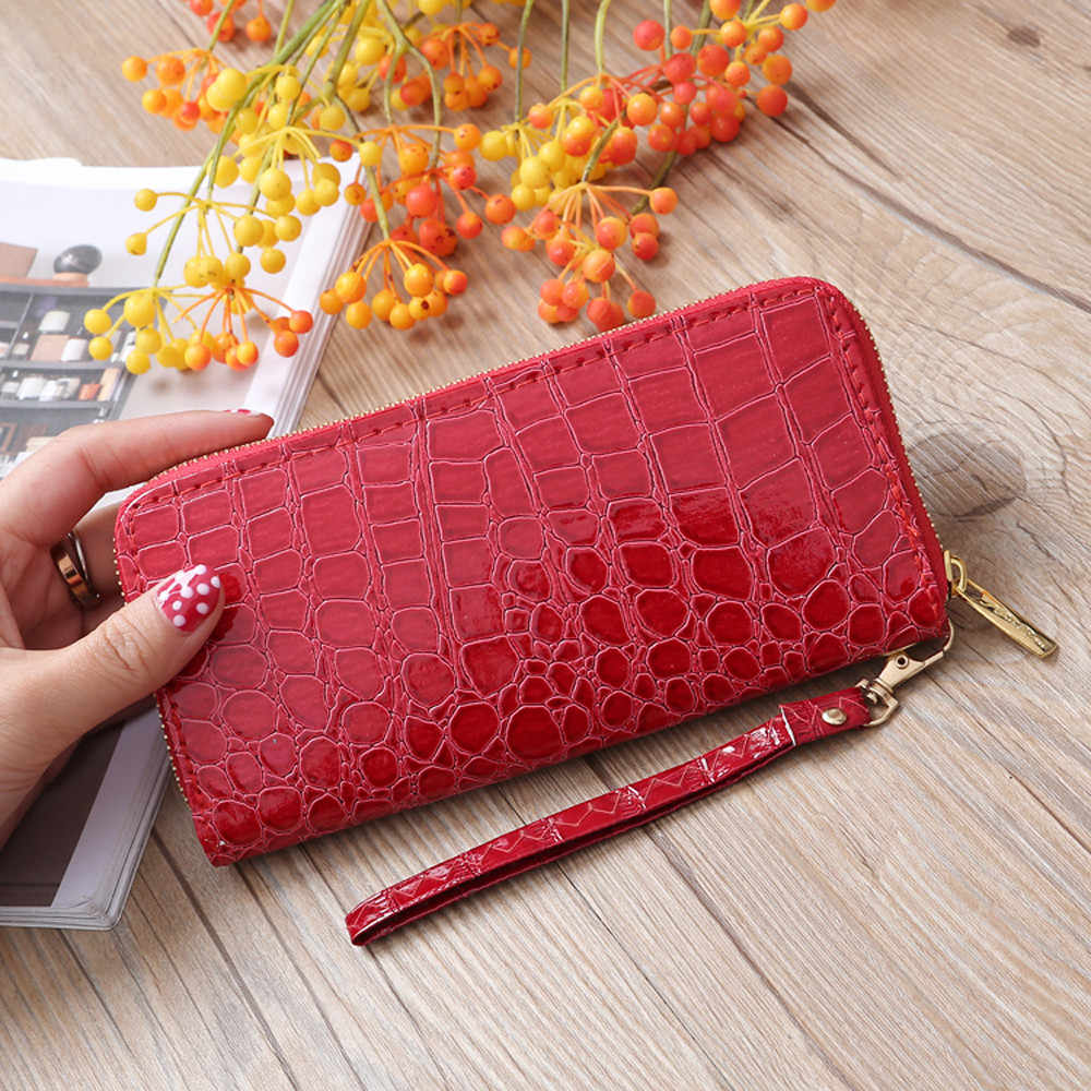 Aelicy 2019 New Design Women PU Leather Famous Brand Wallet High Quality Stone Pattern Wallet Long Zipper Fashion hot sale