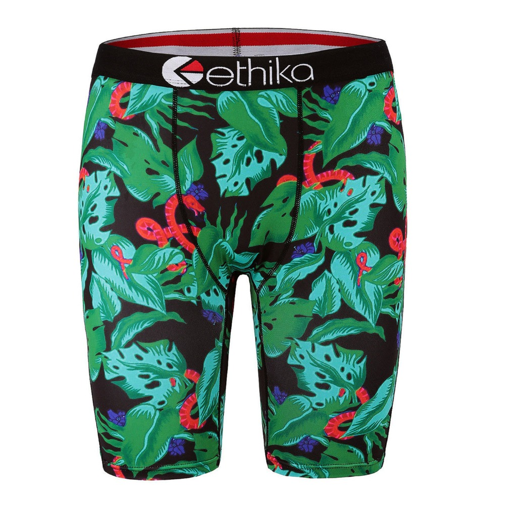 New! quick drying ethika Print Mens Boxer shorts Polyester Spandex ~ green leaf