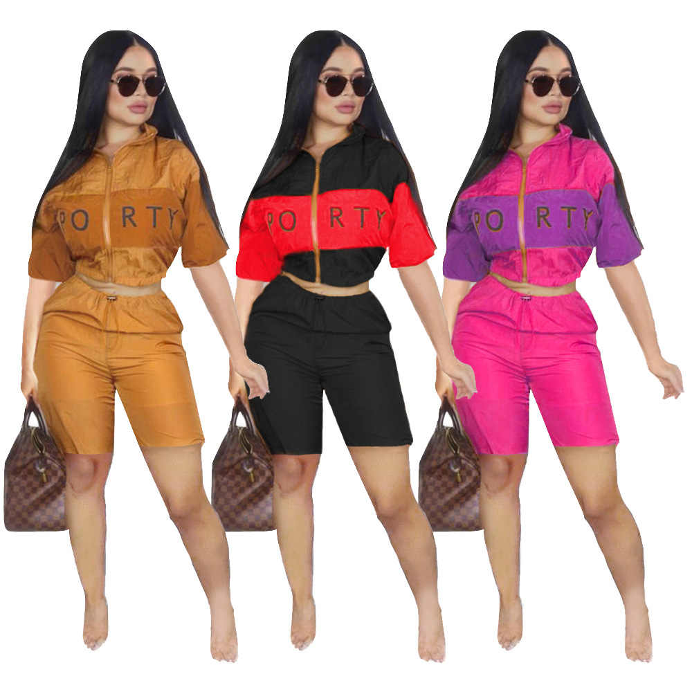 Women new summer 2019 half sleeve sports letter print splicing zipper up trench half length pants suit 2 pieces set tracksuit